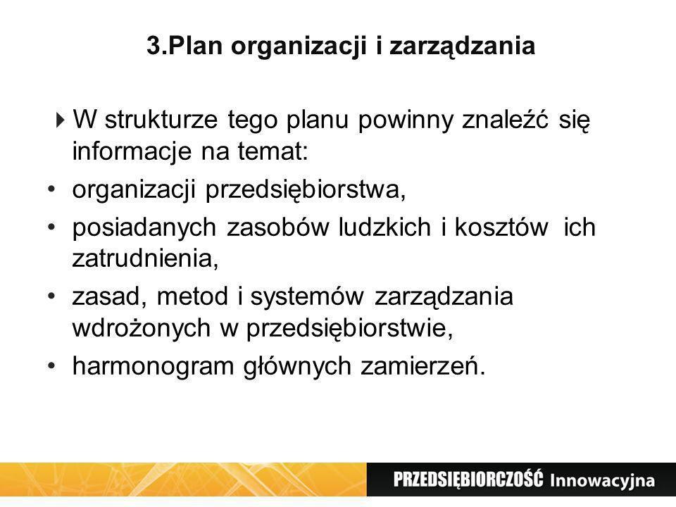 3.Plan organizacji i zarządzania