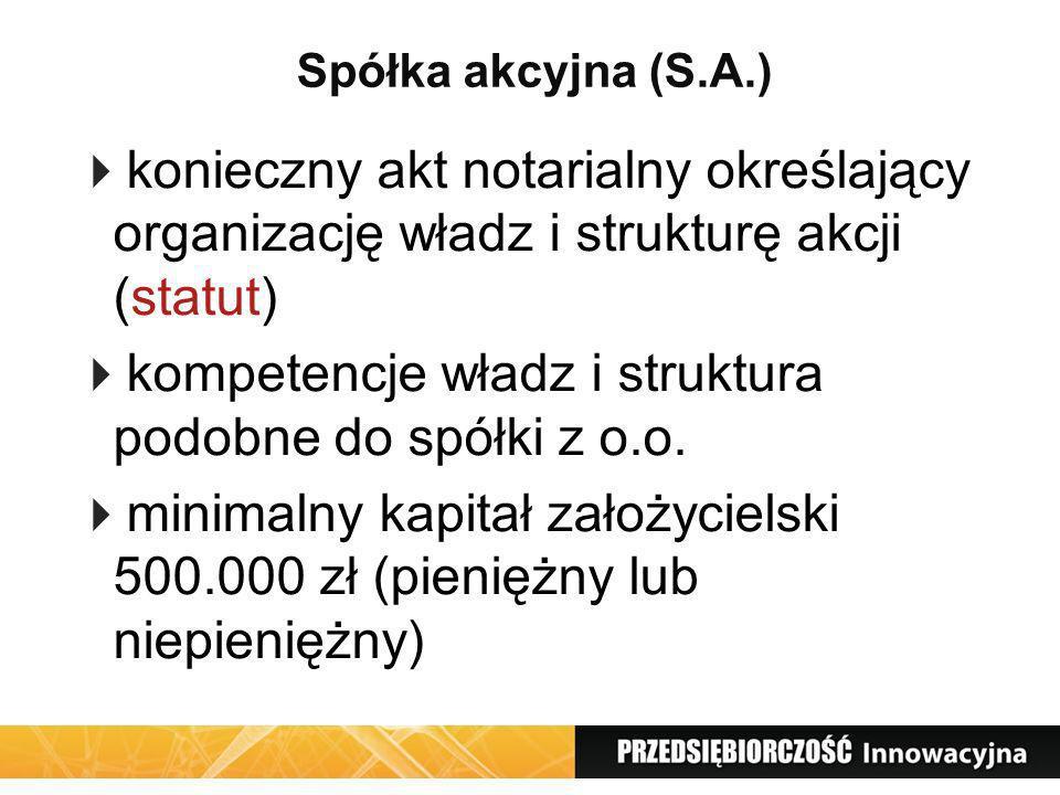 kompetencje władz i struktura podobne do spółki z o.o.