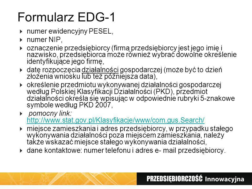 Formularz EDG-1 numer ewidencyjny PESEL, numer NIP,
