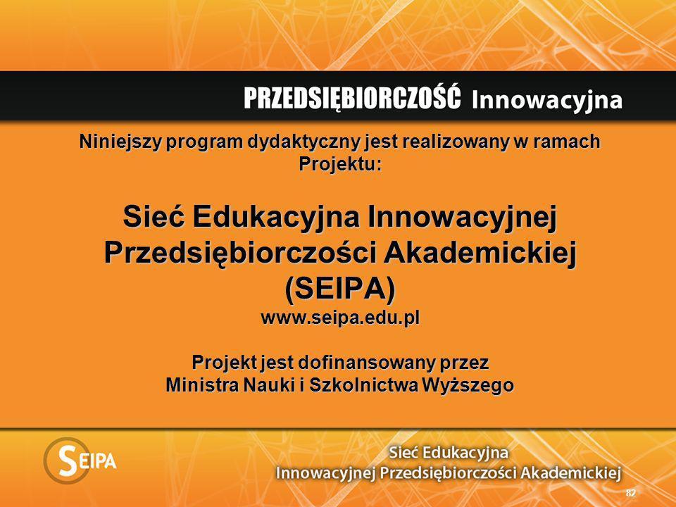 Niniejszy program dydaktyczny jest realizowany w ramach Projektu: Sieć Edukacyjna Innowacyjnej Przedsiębiorczości Akademickiej (SEIPA) www.seipa.edu.pl Projekt jest dofinansowany przez Ministra Nauki i Szkolnictwa Wyższego