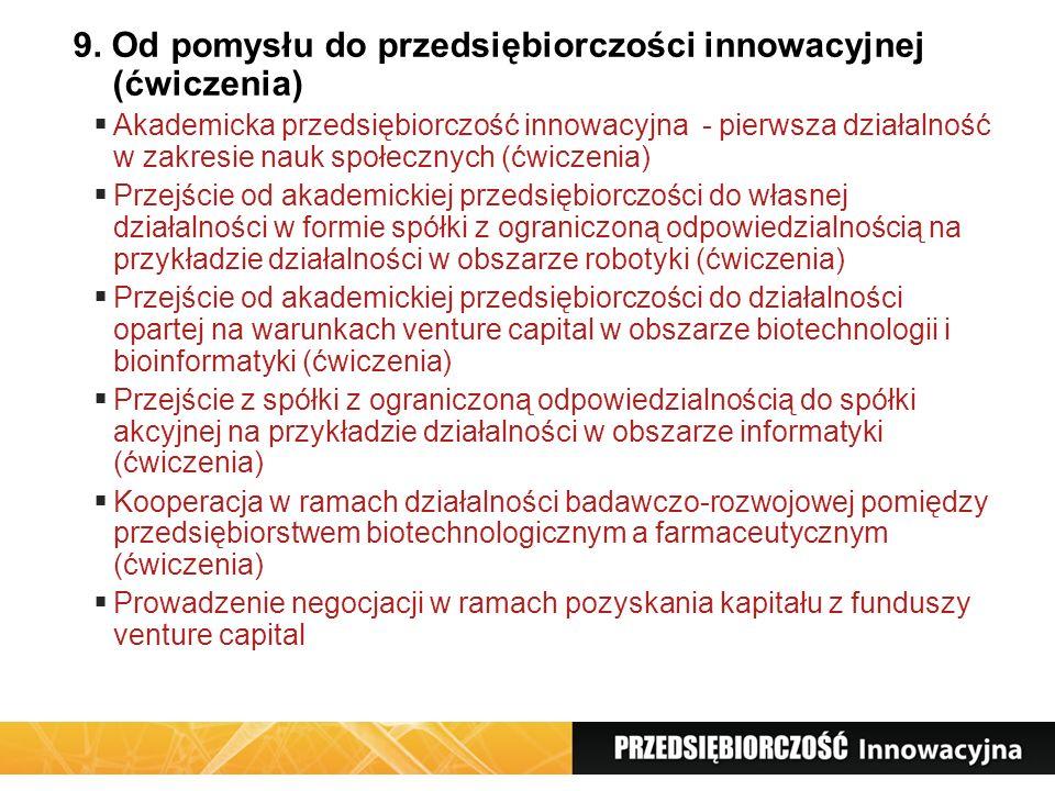9. Od pomysłu do przedsiębiorczości innowacyjnej (ćwiczenia)