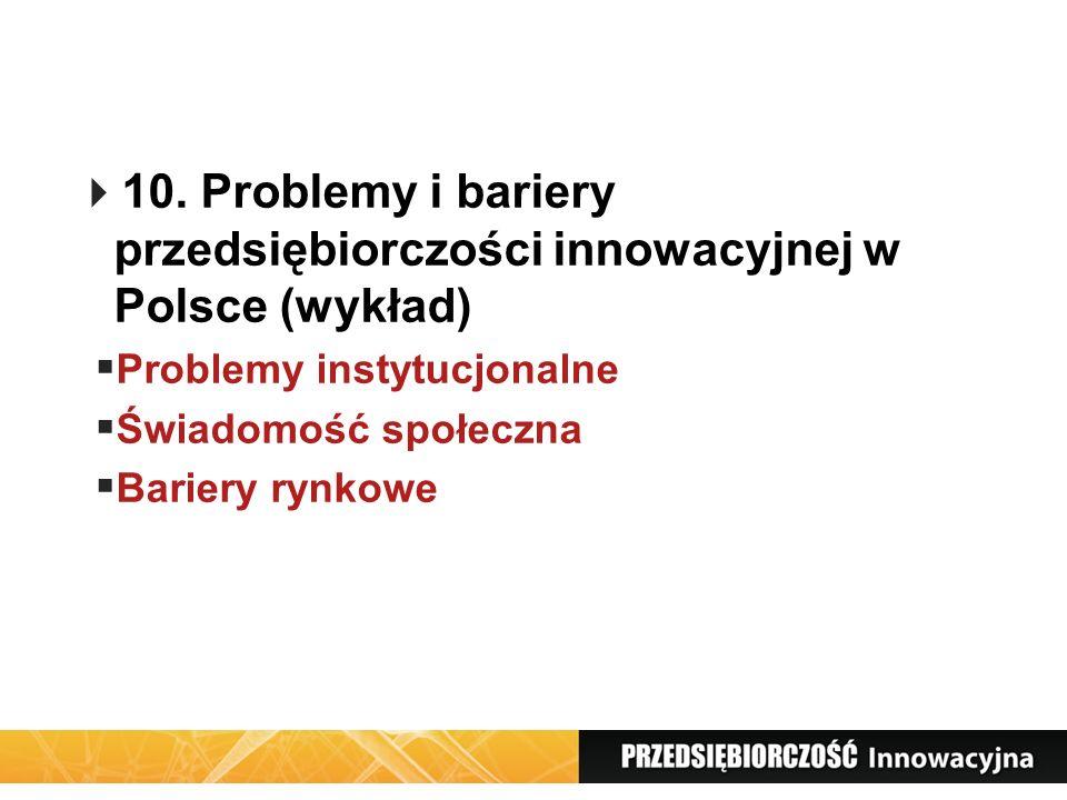 10. Problemy i bariery przedsiębiorczości innowacyjnej w Polsce (wykład)