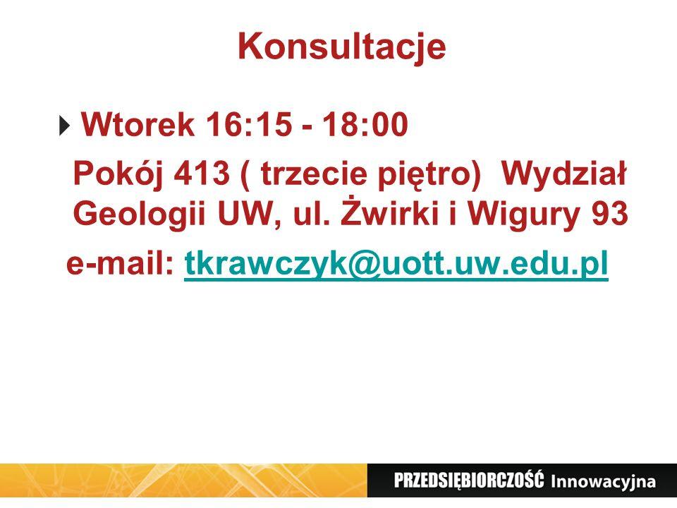 Konsultacje Wtorek 16:15 - 18:00