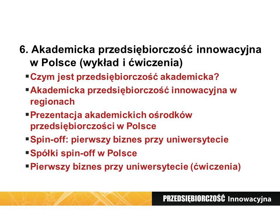 6. Akademicka przedsiębiorczość innowacyjna w Polsce (wykład i ćwiczenia)