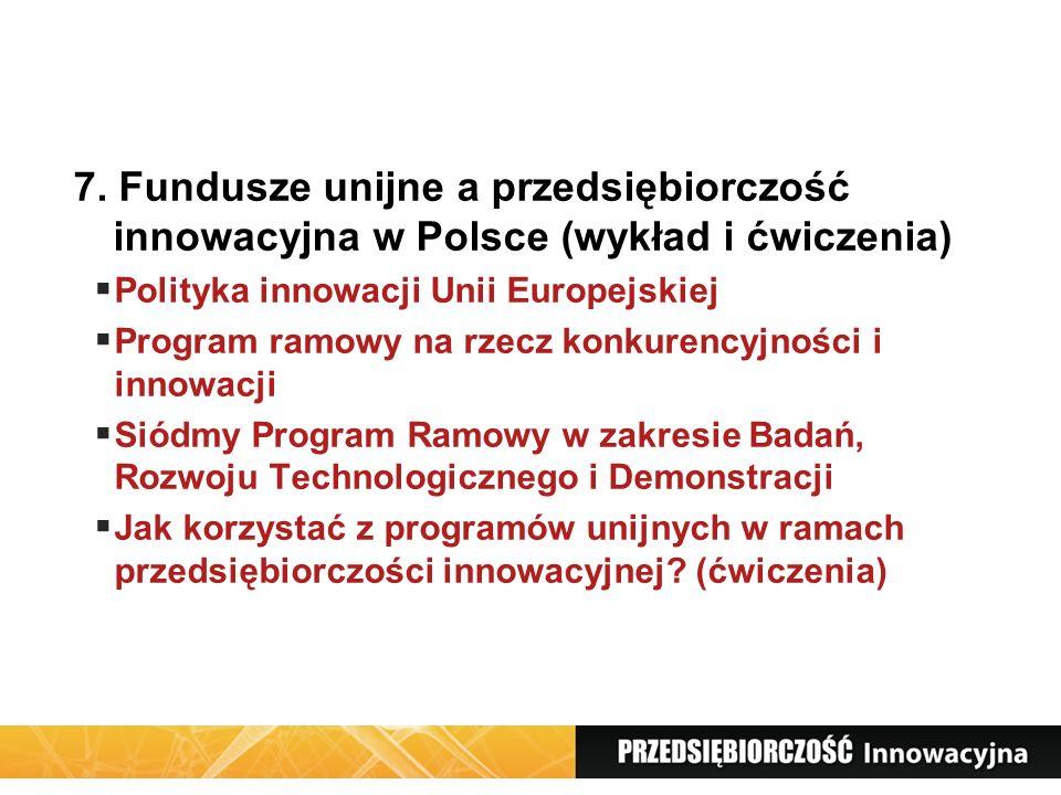 7. Fundusze unijne a przedsiębiorczość innowacyjna w Polsce (wykład i ćwiczenia)