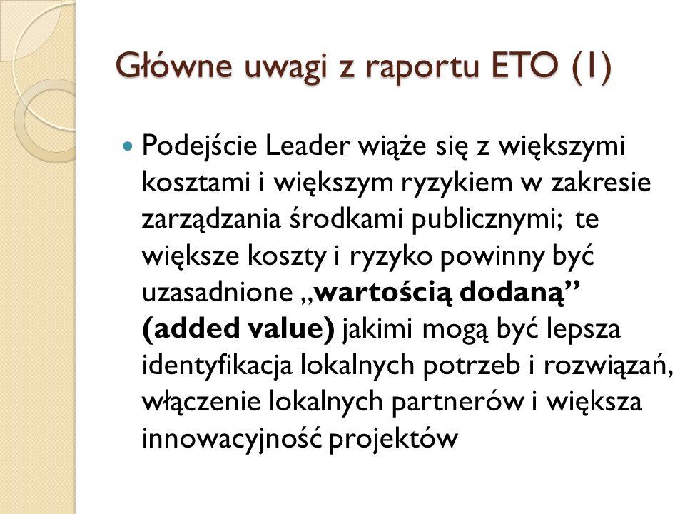 Główne uwagi z raportu ETO (1)