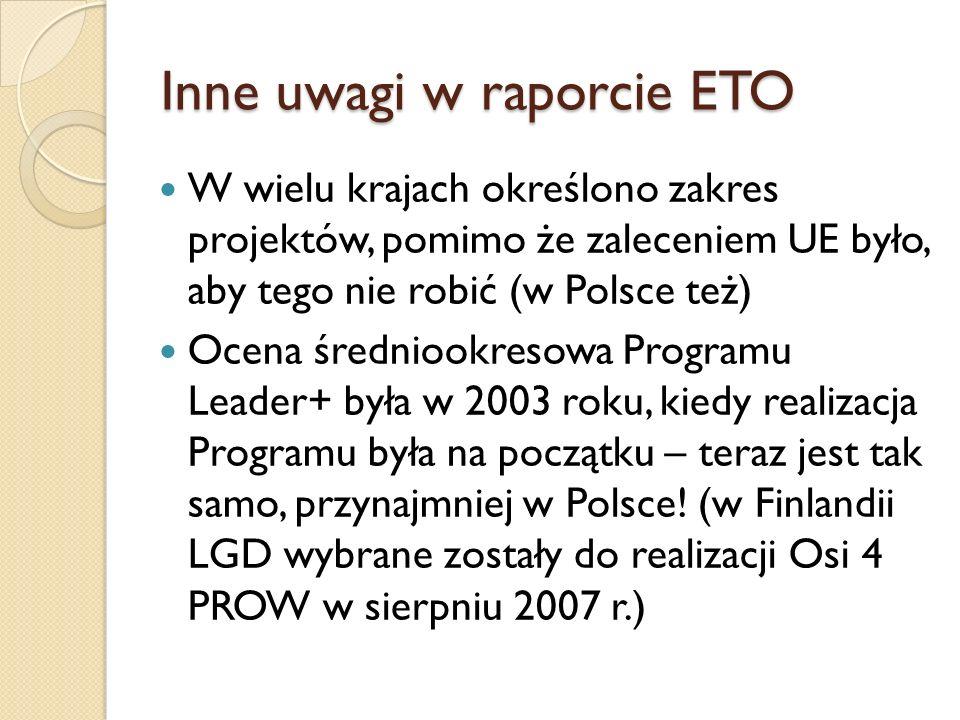 Inne uwagi w raporcie ETO