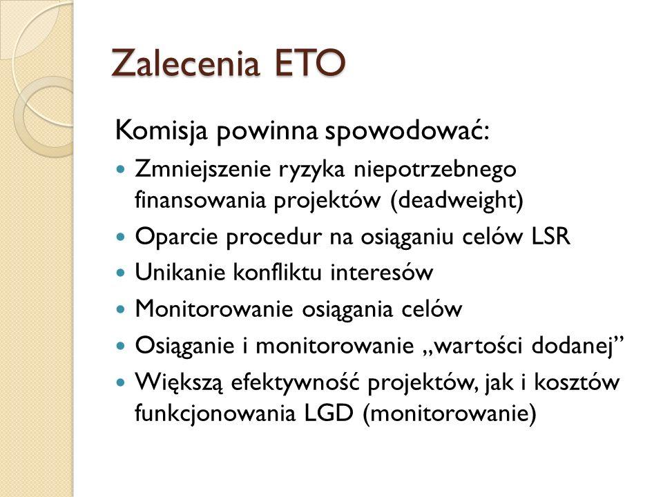 Zalecenia ETO Komisja powinna spowodować: