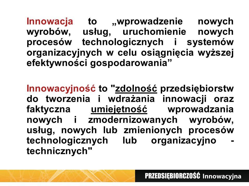 """Innowacja to """"wprowadzenie nowych wyrobów, usług, uruchomienie nowych procesów technologicznych i systemów organizacyjnych w celu osiągnięcia wyższej efektywności gospodarowania"""