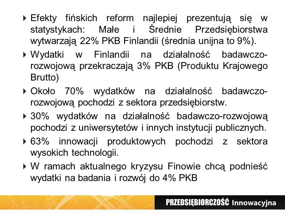 Efekty fińskich reform najlepiej prezentują się w statystykach: Małe i Średnie Przedsiębiorstwa wytwarzają 22% PKB Finlandii (średnia unijna to 9%).