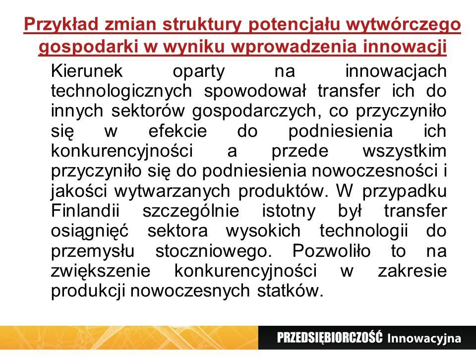 Przykład zmian struktury potencjału wytwórczego gospodarki w wyniku wprowadzenia innowacji