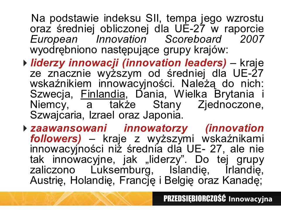 Na podstawie indeksu SII, tempa jego wzrostu oraz średniej obliczonej dla UE-27 w raporcie European Innovation Scoreboard 2007 wyodrębniono następujące grupy krajów: