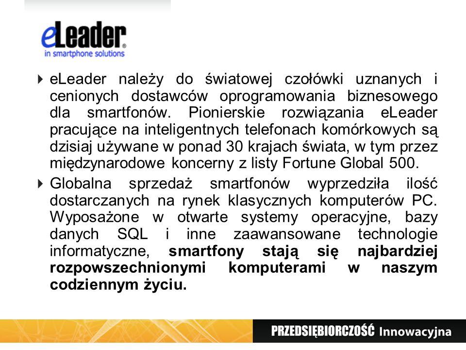 eLeader należy do światowej czołówki uznanych i cenionych dostawców oprogramowania biznesowego dla smartfonów. Pionierskie rozwiązania eLeader pracujące na inteligentnych telefonach komórkowych są dzisiaj używane w ponad 30 krajach świata, w tym przez międzynarodowe koncerny z listy Fortune Global 500.