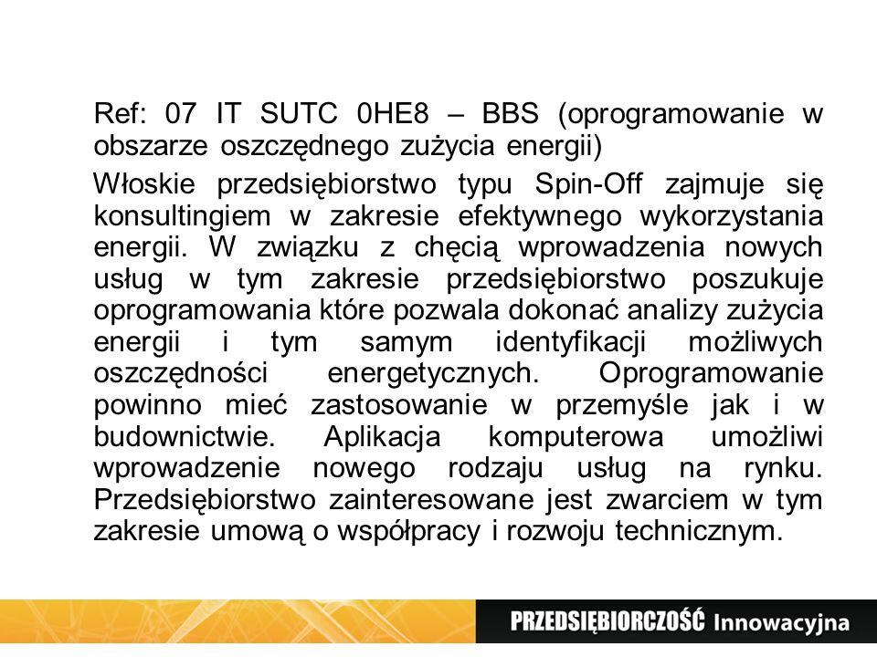 Ref: 07 IT SUTC 0HE8 – BBS (oprogramowanie w obszarze oszczędnego zużycia energii)