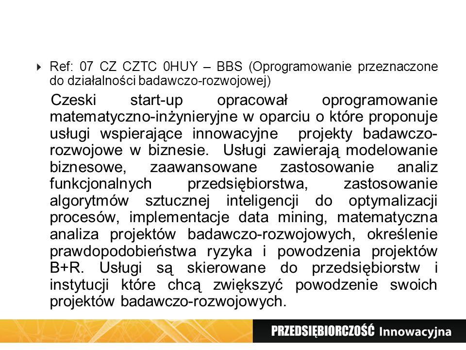 Ref: 07 CZ CZTC 0HUY – BBS (Oprogramowanie przeznaczone do działalności badawczo-rozwojowej)