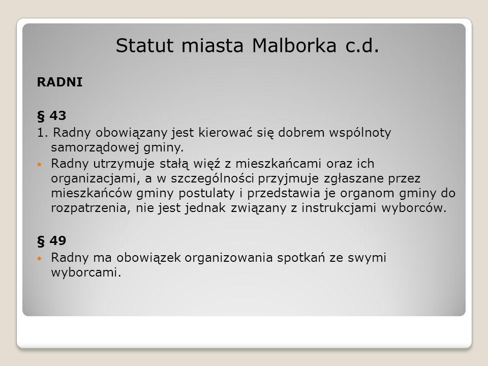 Statut miasta Malborka c.d.