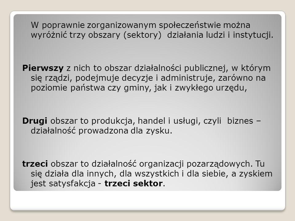 W poprawnie zorganizowanym społeczeństwie można wyróżnić trzy obszary (sektory) działania ludzi i instytucji.