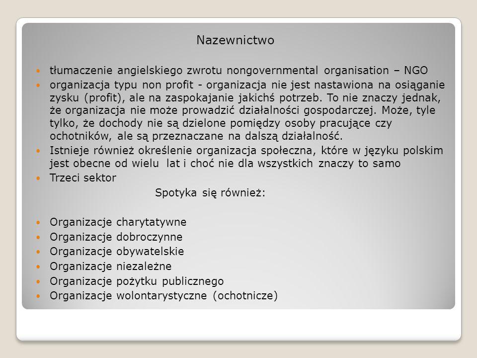 Nazewnictwotłumaczenie angielskiego zwrotu nongovernmental organisation – NGO.