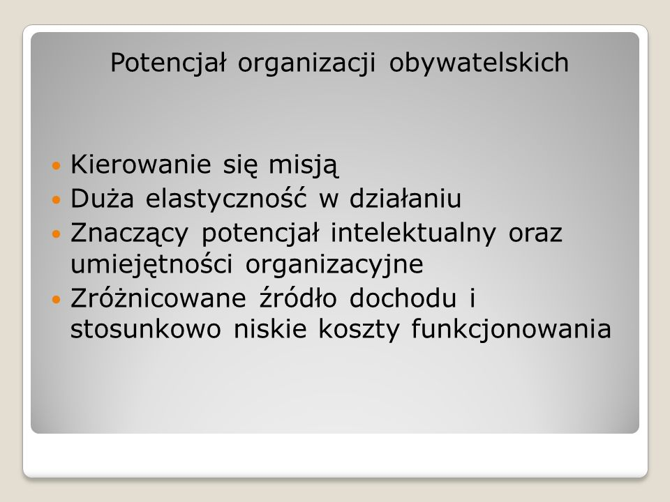 Potencjał organizacji obywatelskich