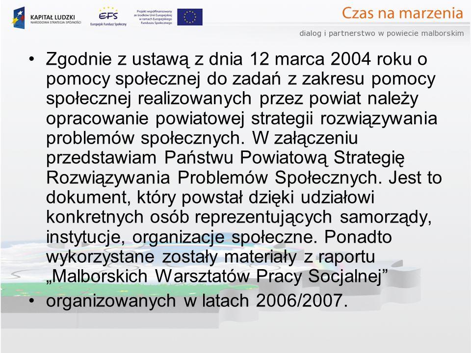 """Zgodnie z ustawą z dnia 12 marca 2004 roku o pomocy społecznej do zadań z zakresu pomocy społecznej realizowanych przez powiat należy opracowanie powiatowej strategii rozwiązywania problemów społecznych. W załączeniu przedstawiam Państwu Powiatową Strategię Rozwiązywania Problemów Społecznych. Jest to dokument, który powstał dzięki udziałowi konkretnych osób reprezentujących samorządy, instytucje, organizacje społeczne. Ponadto wykorzystane zostały materiały z raportu """"Malborskich Warsztatów Pracy Socjalnej"""