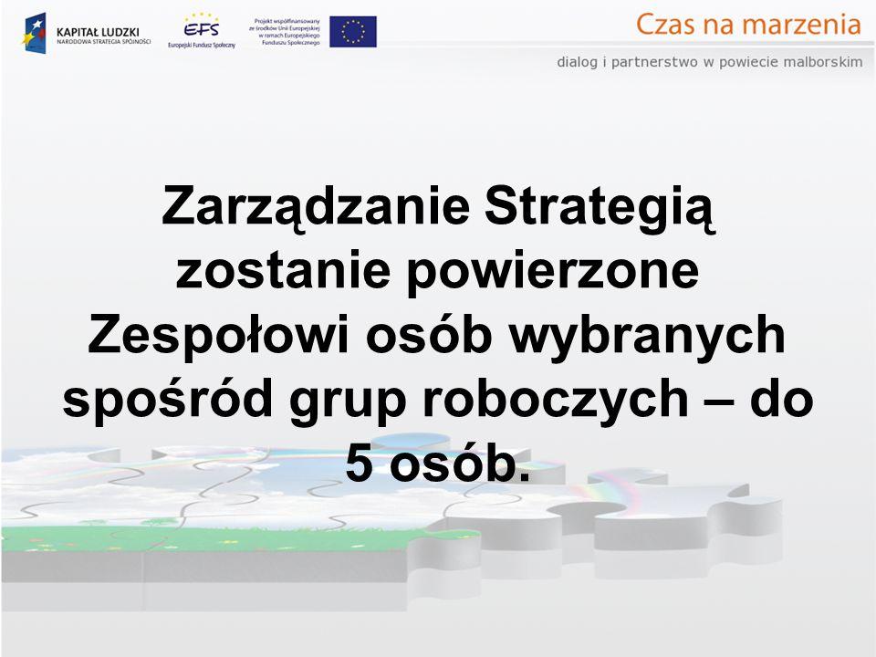 Zarządzanie Strategią zostanie powierzone Zespołowi osób wybranych spośród grup roboczych – do 5 osób.