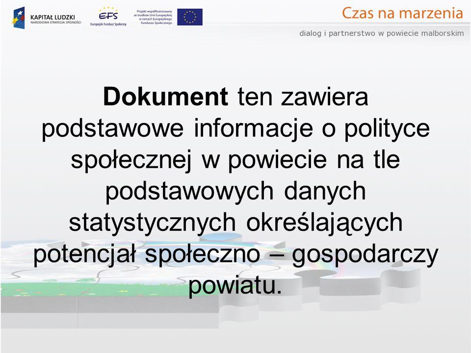 Dokument ten zawiera podstawowe informacje o polityce społecznej w powiecie na tle podstawowych danych statystycznych określających potencjał społeczno – gospodarczy powiatu.