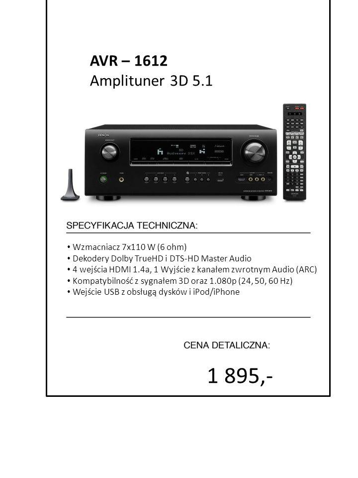 1 895,- AVR – 1612 Amplituner 3D 5.1 Wzmacniacz 7x110 W (6 ohm)