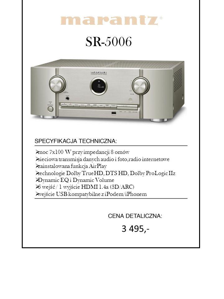 SR-5006 3 495,- moc 7x100 W przy impedancji 8 omów