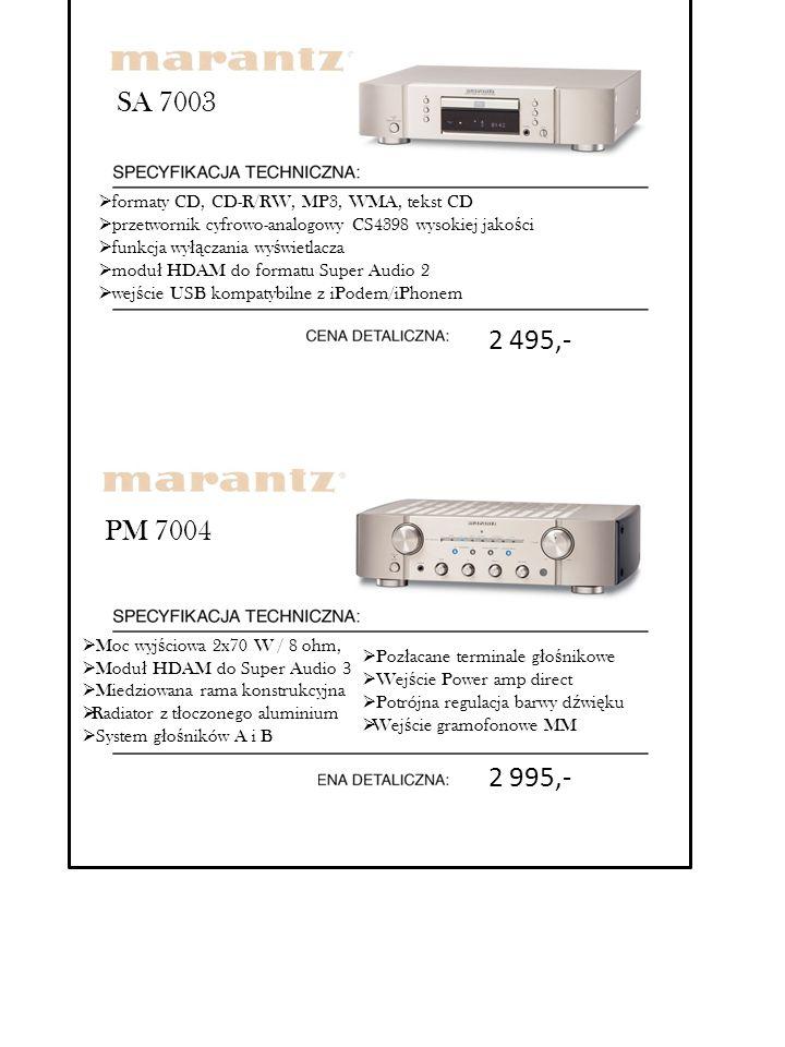 SA 7003 formaty CD, CD-R/RW, MP3, WMA, tekst CD. przetwornik cyfrowo-analogowy CS4398 wysokiej jakości.