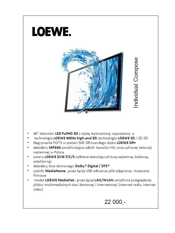 Individual Compose 46 telewizor LED FullHD 3D z szybą kontrastową wyposażony w. technologia LOEWE 400Hz high-end 3D, technologia LOEWE 3D / 2D-3D.