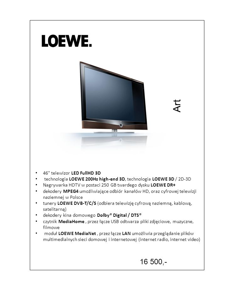 Art 16 500,- 46 telewizor LED FullHD 3D