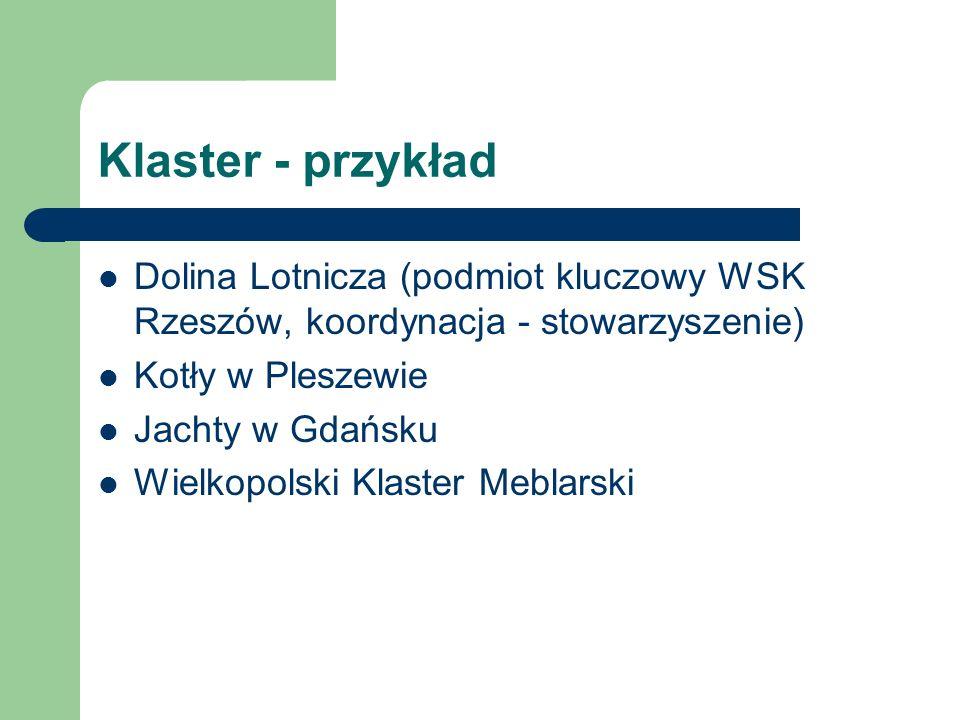 Klaster - przykład Dolina Lotnicza (podmiot kluczowy WSK Rzeszów, koordynacja - stowarzyszenie) Kotły w Pleszewie.