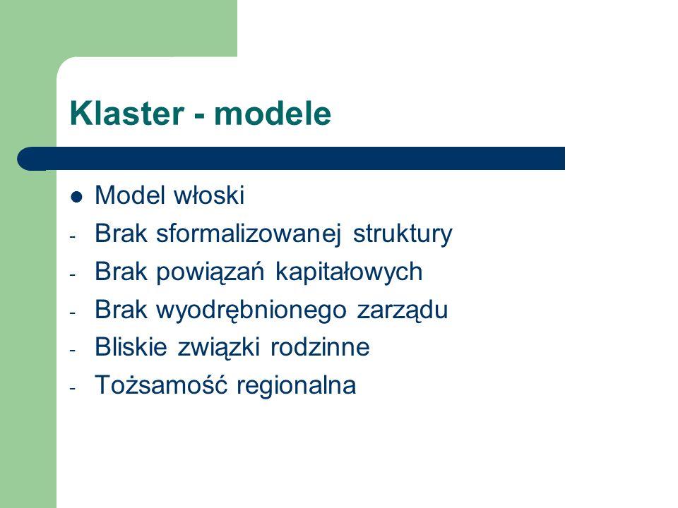 Klaster - modele Model włoski Brak sformalizowanej struktury