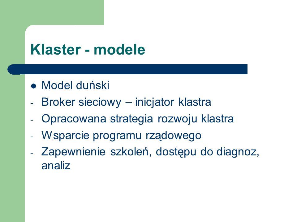 Klaster - modele Model duński Broker sieciowy – inicjator klastra