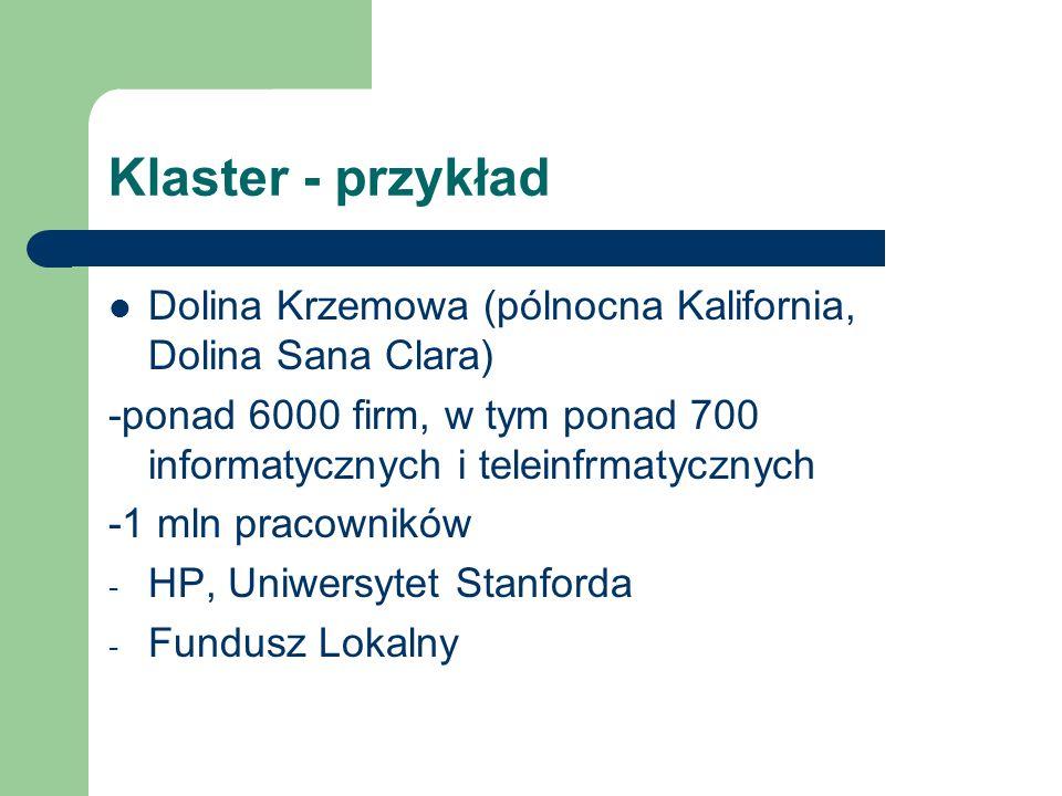 Klaster - przykładDolina Krzemowa (pólnocna Kalifornia, Dolina Sana Clara) -ponad 6000 firm, w tym ponad 700 informatycznych i teleinfrmatycznych.