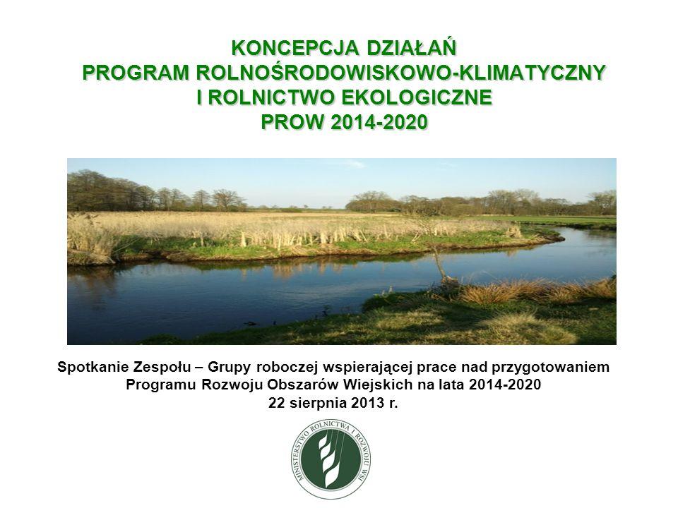 KONCEPCJA DZIAŁAŃ PROGRAM ROLNOŚRODOWISKOWO-KLIMATYCZNY I ROLNICTWO EKOLOGICZNE PROW 2014-2020