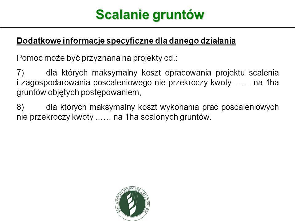 Scalanie gruntów Dodatkowe informacje specyficzne dla danego działania