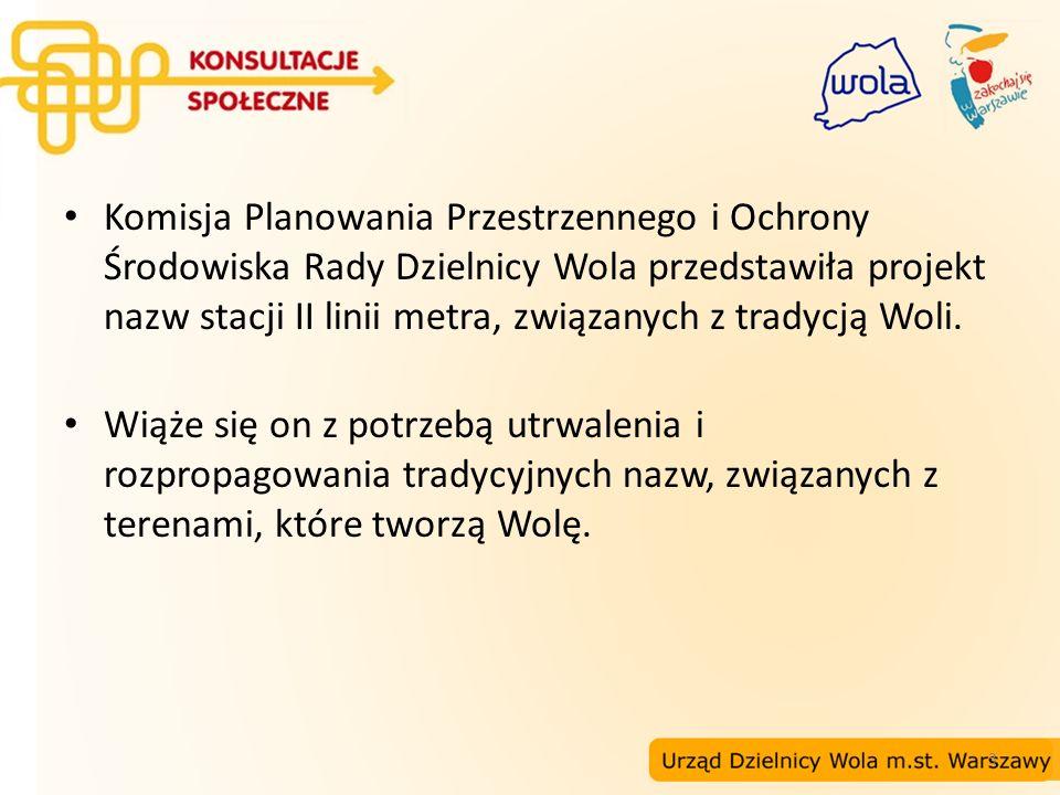 Komisja Planowania Przestrzennego i Ochrony Środowiska Rady Dzielnicy Wola przedstawiła projekt nazw stacji II linii metra, związanych z tradycją Woli.