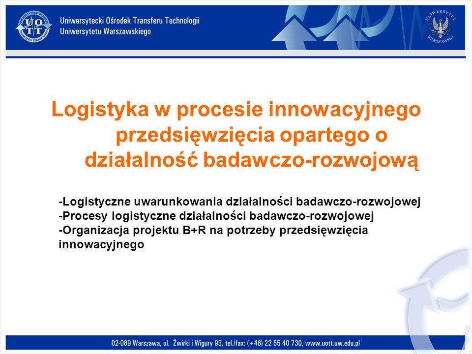 Logistyka w procesie innowacyjnego przedsięwzięcia opartego o działalność badawczo-rozwojową