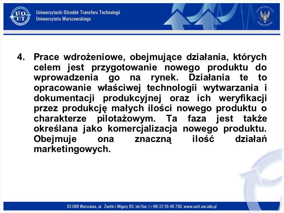 Prace wdrożeniowe, obejmujące działania, których celem jest przygotowanie nowego produktu do wprowadzenia go na rynek.