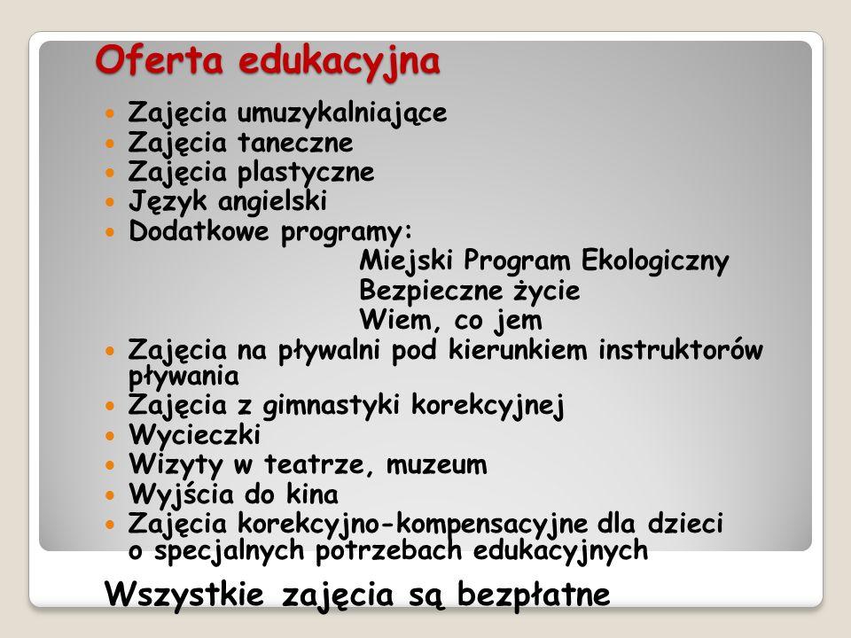 Oferta edukacyjna Wszystkie zajęcia są bezpłatne