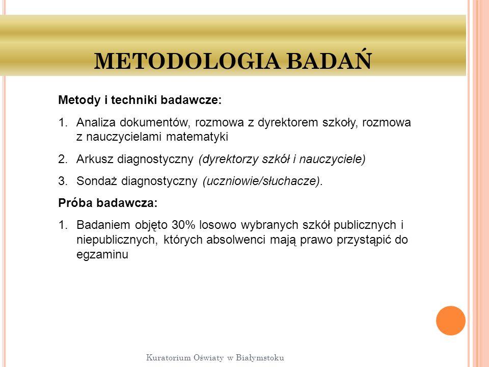 METODOLOGIA BADAŃ Metody i techniki badawcze: