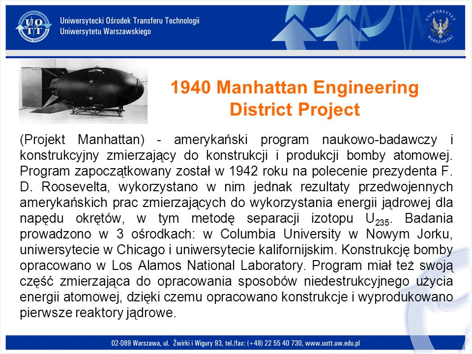 1940 Manhattan Engineering District Project
