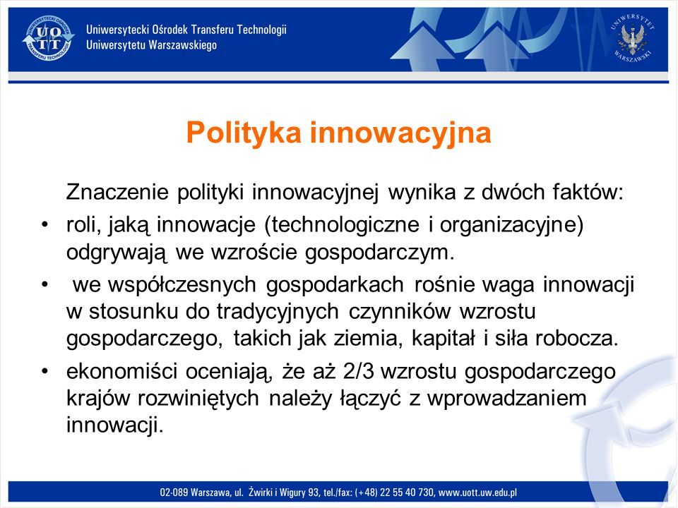 Polityka innowacyjna Znaczenie polityki innowacyjnej wynika z dwóch faktów: