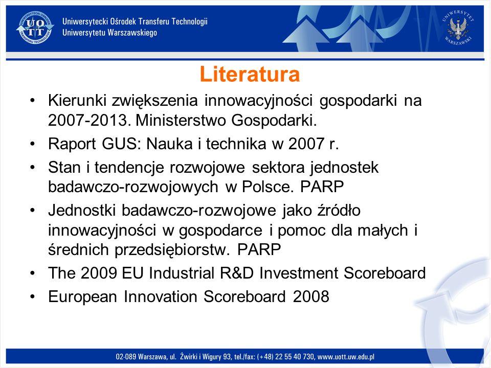 LiteraturaKierunki zwiększenia innowacyjności gospodarki na 2007-2013. Ministerstwo Gospodarki. Raport GUS: Nauka i technika w 2007 r.
