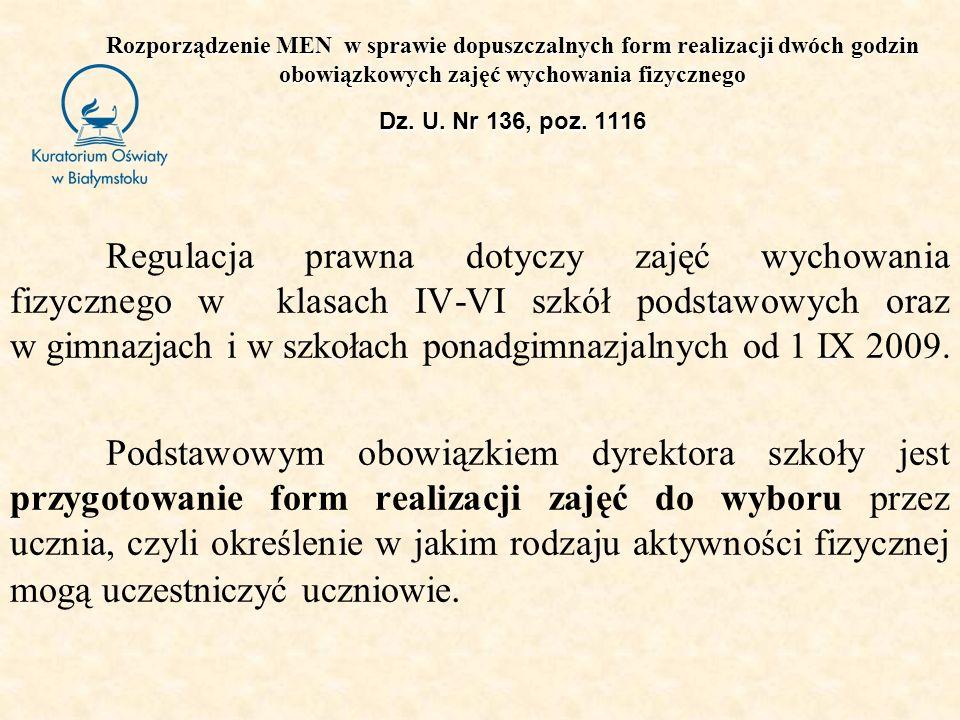 Rozporządzenie MEN w sprawie dopuszczalnych form realizacji dwóch godzin obowiązkowych zajęć wychowania fizycznego Dz. U. Nr 136, poz. 1116