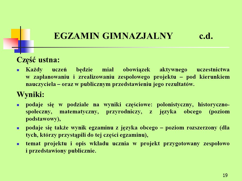 EGZAMIN GIMNAZJALNY c.d.