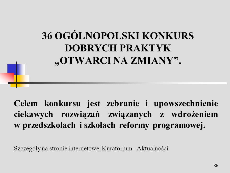 """36 OGÓLNOPOLSKI KONKURS DOBRYCH PRAKTYK """"OTWARCI NA ZMIANY ."""