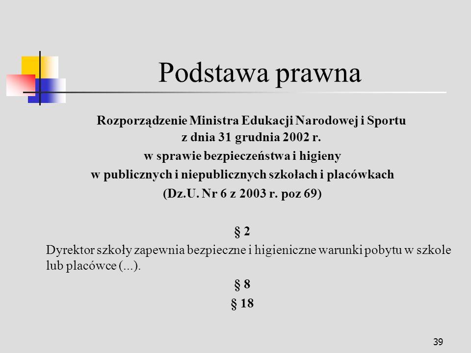 Podstawa prawna Rozporządzenie Ministra Edukacji Narodowej i Sportu z dnia 31 grudnia 2002 r. w sprawie bezpieczeństwa i higieny.
