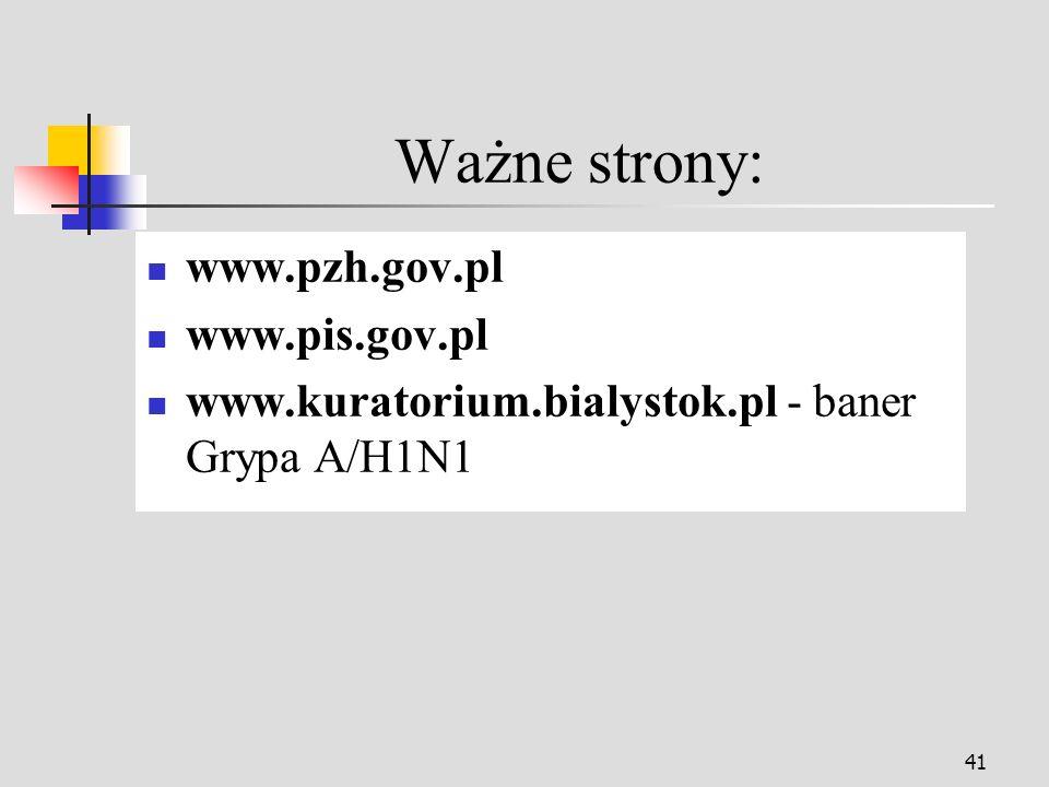 Ważne strony: www.pzh.gov.pl www.pis.gov.pl